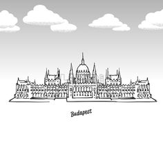 Lineart drawing by hand. Greeting card icon with title, vector illustration. Famous Buildings, Famous Landmarks, Hungarian Tattoo, Skyline Tattoo, City Illustration, Instagram Highlight Icons, Budapest Hungary, Ancient Civilizations, Line Art