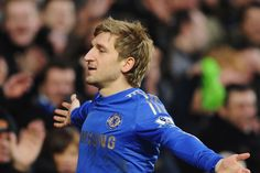 Marko Marin celebrates in front of the Matthew Harding
