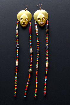 brass afro pendants, glass beads  afriquelachic.com