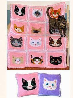Crochet y dos agujas: Manta con caritas de gatos al crochet