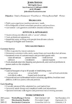 resume sample food server dining room staff porter - Hr Resume Objectives