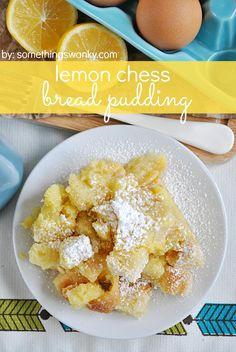 Lemon Chess Bread Pudding ~~ This Lemon Chess Bread Pudding is everything that a spring time dessert should be: it's light and lemony, decadent and sweet, and you can totally eat it for breakfast! Plus, it's quick and easy to whip up! Lemon Desserts, Lemon Recipes, Just Desserts, Sweet Recipes, Delicious Desserts, Dessert Recipes, Yummy Food, Awesome Desserts, Paleo Food