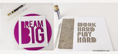 Give your workspace a summer makeover, #DIY stenciled #felt mousepad with your fav quote