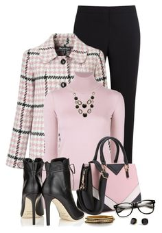 A fashion look from October 2016 featuring vintage sweaters, Miss Selfridge and dress pants. Browse and shop related looks. Pink Outfits, Classy Outfits, Cute Outfits, Professional Wear, Work Looks, Fashion Dresses, Eddie Borgo, Stylish, My Style