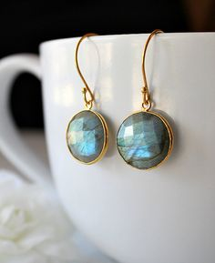 Round  Flash Labradorite Drop Earrings Coin Shaped by ByGerene, $40.00