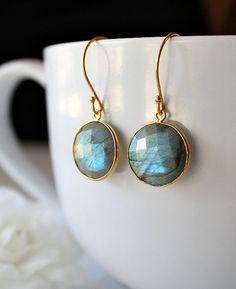 Round  Flash Labradorite Drop Earrings, Coin Shaped, Grey Gemstone, Round Dangle, Blue Flash  Labradorite Jewelry