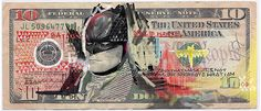Justice League of America drawn on dollar bills
