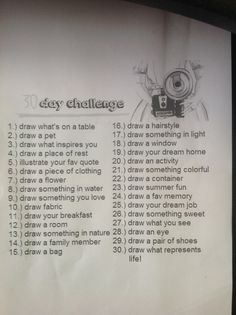 The contents of the 30 day challenge