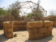 raising a dome on bales of hay