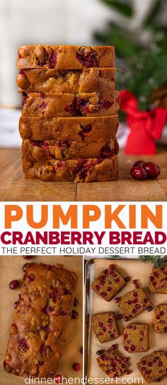 Pumpkin Cranberry Bread is the perfect holiday dessert bread with a moist pumpkin bread base fresh cranberries, orange juice and a hint of ginger. Pumpkin Cranberry Bread, Moist Pumpkin Bread, Pumpkin Spice, Cranberry Orange Bread, Holiday Desserts, Holiday Baking, Fresh Cranberry Recipes, Cranberry Dessert, Fresh Pumpkin Recipes
