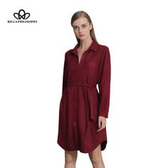 autumn winter double side faux suede With belt Lapel long sleeves women shirt dress Wine red