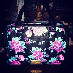 ♥ Betsey Johnson black and pink and green floral satchel purse