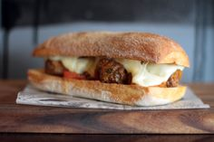 Angus beef meatballs, housemade tomato relish and melted Swiss cheese on Brasserie Bread Grande roll at Lady J Cafe & Wine Bar, Bondi Junction