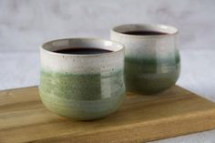NEW! St. Patrick Collection: Relax and enjoy a stylish lunch with these new ceramics wine tumblers. A special set of 2 cups. They are made of speckled clay on my pottery wheel and glazed in a green and white glaze. They have been shaped so that it can comfortably fit between your
