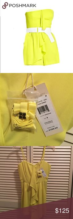 NWT BCBG Playful Summer Romper Shipping cost discounted by Poshmark if sold within the next hour!!! Make an offer if interested!!!Beautiful BCBG bright, yellow short romper, with white belt (belt not pictured). Adjustable straps pictured are also included. Perfect for any summer event!!! NWT!!! BCBGMaxAzria Dresses