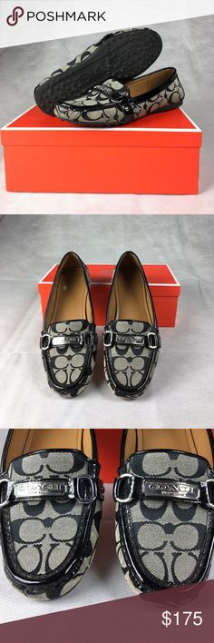Coach loafers with patten leather trim Coach loafers with patten leather trim and replacement Coach box Coach Shoes Flats & Loafers