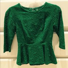 Anthropologie Green Lace Peplum Top This 3/4 length sleeve top is lined and the prettiest Kelly Green. Only worn twice. Anthropologie Tops Blouses