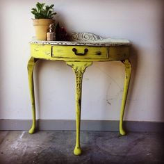 Annie Sloan English Yellow Half Moon Table by Claire V Sissons of Mon Petit Palais Designs – Dovetails Vintage