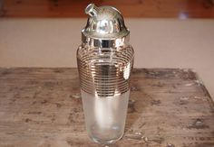 Mid Century Frosted Glass & Silver Striped Cocktail Martini Shaker - SOLD!