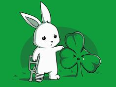 Down On Luck, cute bunny + four leaf clover shirt from TeeTurtle.