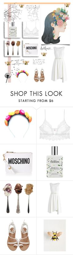 """Darling, Doll"" by alongcametwiggy ❤ liked on Polyvore featuring Crown and Glory, Only Hearts, Moschino, philosophy, Jení and Chicwish"