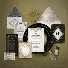 Ellington Art Deco Gatsby inspired wedding invitation and reception stationery suite by Atelier Isabey