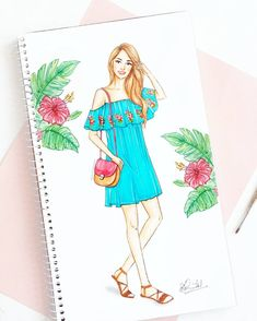 Wandering on Wednesday - a super cute offshoulder dress and comfy, strappy sandals is all you need for a walk around the city! Dress Design Drawing, Dress Design Sketches, Fashion Design Sketchbook, Fashion Design Drawings, Fashion Sketches, Dress Illustration, Fashion Illustration Dresses, Fashion Drawing Dresses, Fashion Figures