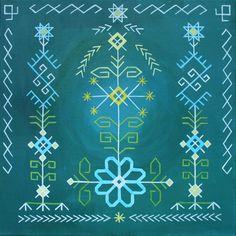 "Traditional Latvian folk symbols on green. ""Summer solstice"". Acrylic on canvas. 40x40cm. By Brigita Ektermane."