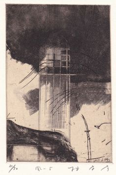 Takahiko Hayashi ~ Wind-5, 1989 (copperplate print with chine colle', etching)
