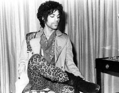 prince with the leopard print pants, studded jacked, bandana and black boots. So cool!