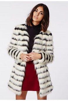 Katy Shaggy Faux Fur Coat Monochrome