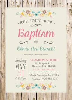 Baptism Invitation Christening Church Ceremony by thelyricshoppe Baptism Invitation Wording, Floral Invitation, Invitation Cards, Party Invitations, Invitation Templates, Christening Party, Baptism Party, Christening Invitations Girl, Baptism Ideas