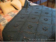 manta crochet azul petroleo