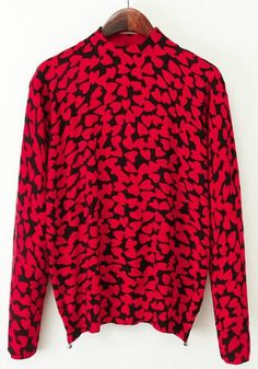 Red Love Print Pullover