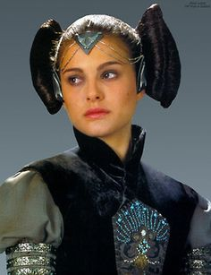 Her hair and outfit as she talks to Anakin in Episode II reminds me of Leia's cinnamon buns...
