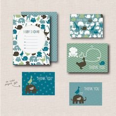 Little Animals Baby Shower Invitations // by joliodesign