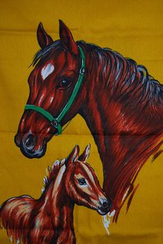 VINTAGE 70s HORSE FABRIC panel mare and colt by vintageinspiration, $25.00