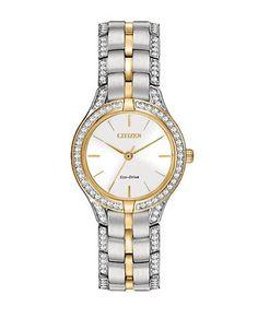 Citizen Silhouette Crystal Glitz Two-Tone Bracelet Watch Women's Silve