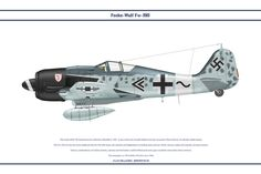 The Focke-Wulf 190 entered service with the Luftwaffe in It was a fast and versatile fighter and was unusual in that it had an 18 cylinder radial . Air Fighter, Fighter Jets, Focke Wulf 190, Airplane Painting, Dog Fighting, Ww2 Aircraft, Aviation Art, Model Airplanes, Paint Schemes