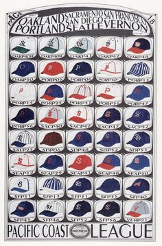 Pacific Coast League - Pacific Coast League caps from the original Cooperstown catalogue Mlb Uniforms, Baseball Uniforms, Minor League Baseball, Mlb Team Logos, Mlb Teams, Sports Logos, Team Mascots, Baseball Equipment, Great Logos