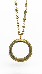 LARGE MATTE GOLD LOCKET WITH CRYSTALS & CHAIN COMBO $44.00 http://www.spiritlockets.com/#Dana