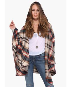 Khaki Hooded Plaid Cape Style Outerwear