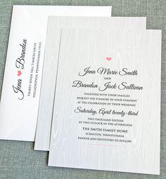 Jena Gray Woodgrain Rustic Wedding Invitation by CricketPrinting