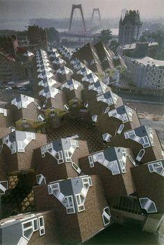 **cube houses, Blaak, Rotterdam by Piet Blom the Netherlands Rotterdam Architecture, Futuristic Architecture, Amazing Architecture, Art And Architecture, Pavilion Architecture, Sustainable Architecture, Residential Architecture, Contemporary Architecture, Unique Buildings