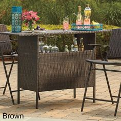 Outdoor Bar Wicker Storage Table Patio Drink Server Wine Liquor Bottle Party New