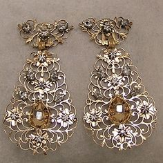 10k Vintage Rose Cut Diamond Pear Shape Earrings. Sigh!