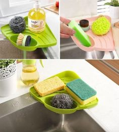 """Promising Review: """"Perfect size for a medium-size bottle of dish soap, a large hand soap, and our sponge. Stays stuck to the sink with a suction cup. Regular-size sponge fits diagonally in the sponge holder, keeping it out of the way and clean while allowing it to dry."""" —Amazon CustomerPrice: $10"""