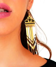 Σκουλαρίκια Egypt Black and Gold  www.myfashionfruit.com