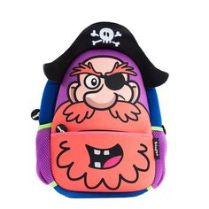 Boys character backpack with an amazing design displaying funkey pirate and its eye patch. This design is fun, bright, colourful, soft and definitely comfortable. Perfect for toddlers or slightly older kids.