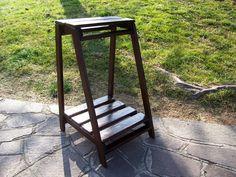 Fioriera portavasi portafiori artigianale legno abete tinto noce | eBay